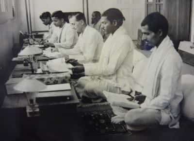 Alain Daniélou with the working group of paṇḍit-s at the Banaras Hindu University.