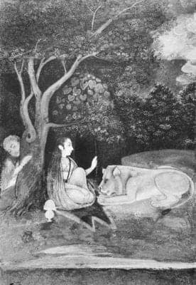 Yoginī and lion: miniature on paper; late XVIII century. Salarjung Museum, Hyderabad. Source : Dehejia, Yogini Cult and Temples: A Tantric Tradition, 1986, p. 12.