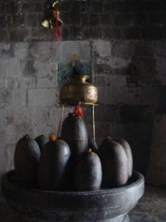 Aesthetic in daily worships, Lingams in a small Shrine close to Avantipura, Kashmir.