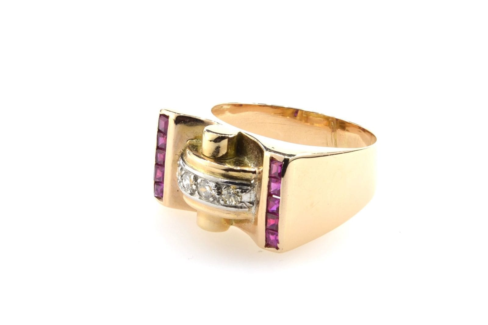 bague tank rubis synthétiques