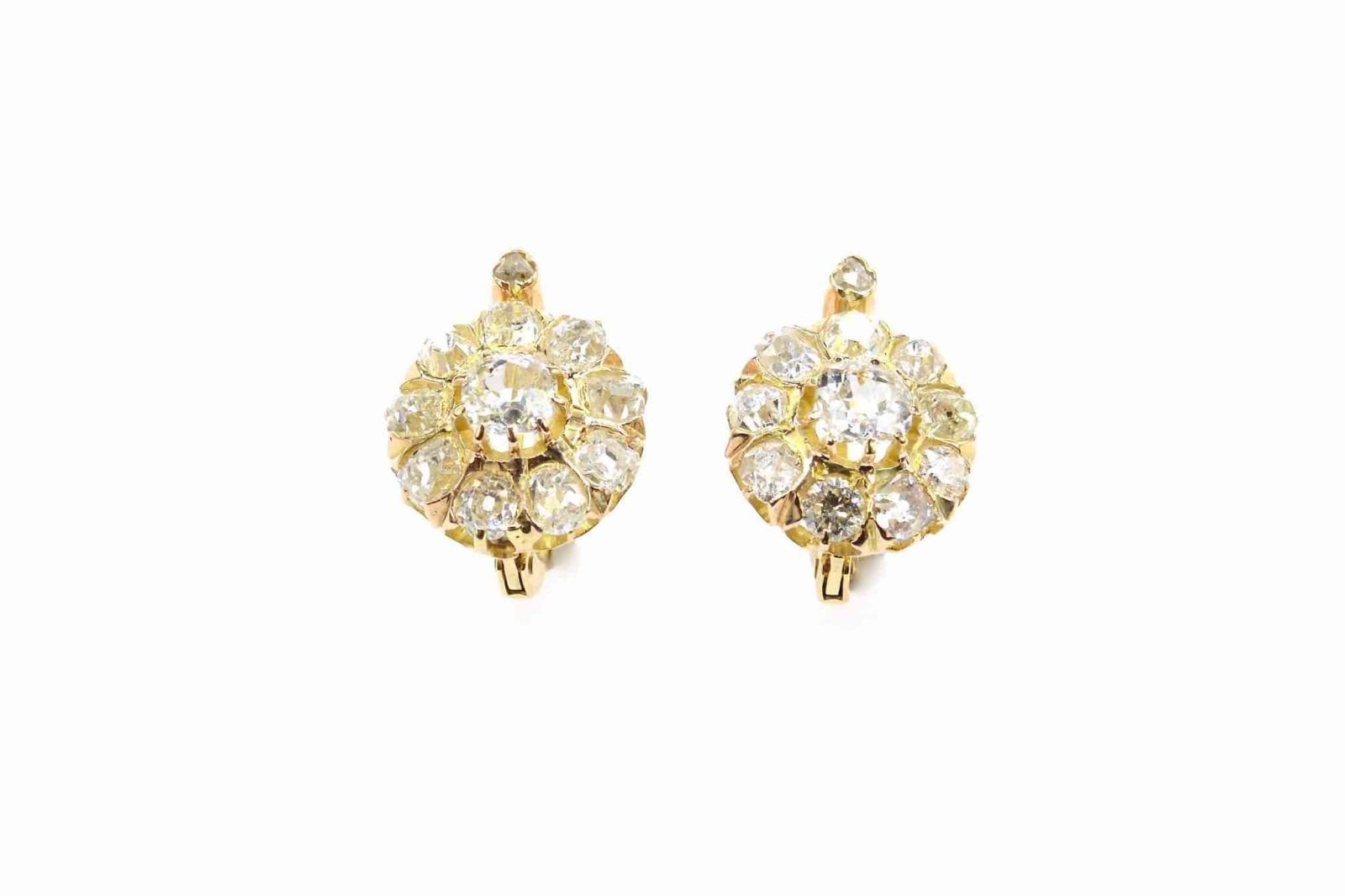 Boucles d'oreilles diamants en or jaune 18k
