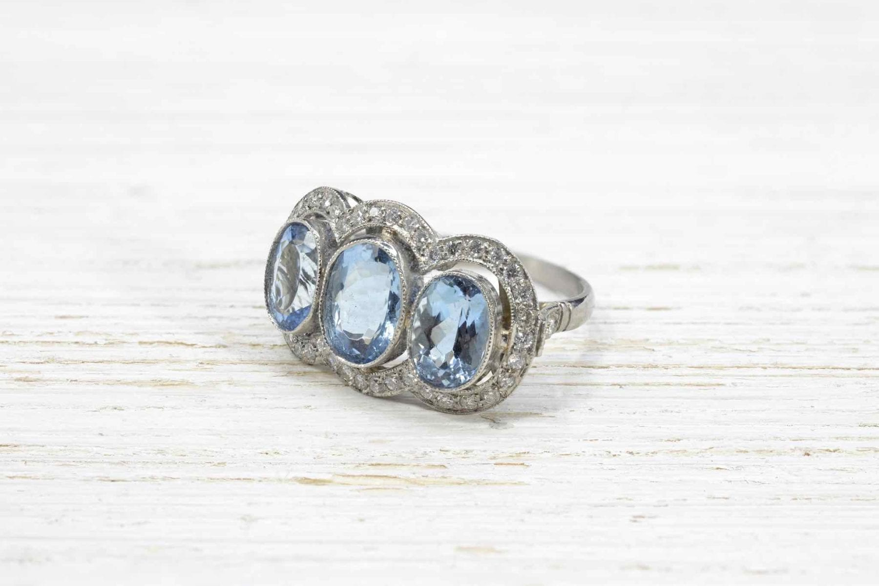 aquamarine ring with platinum diamonds