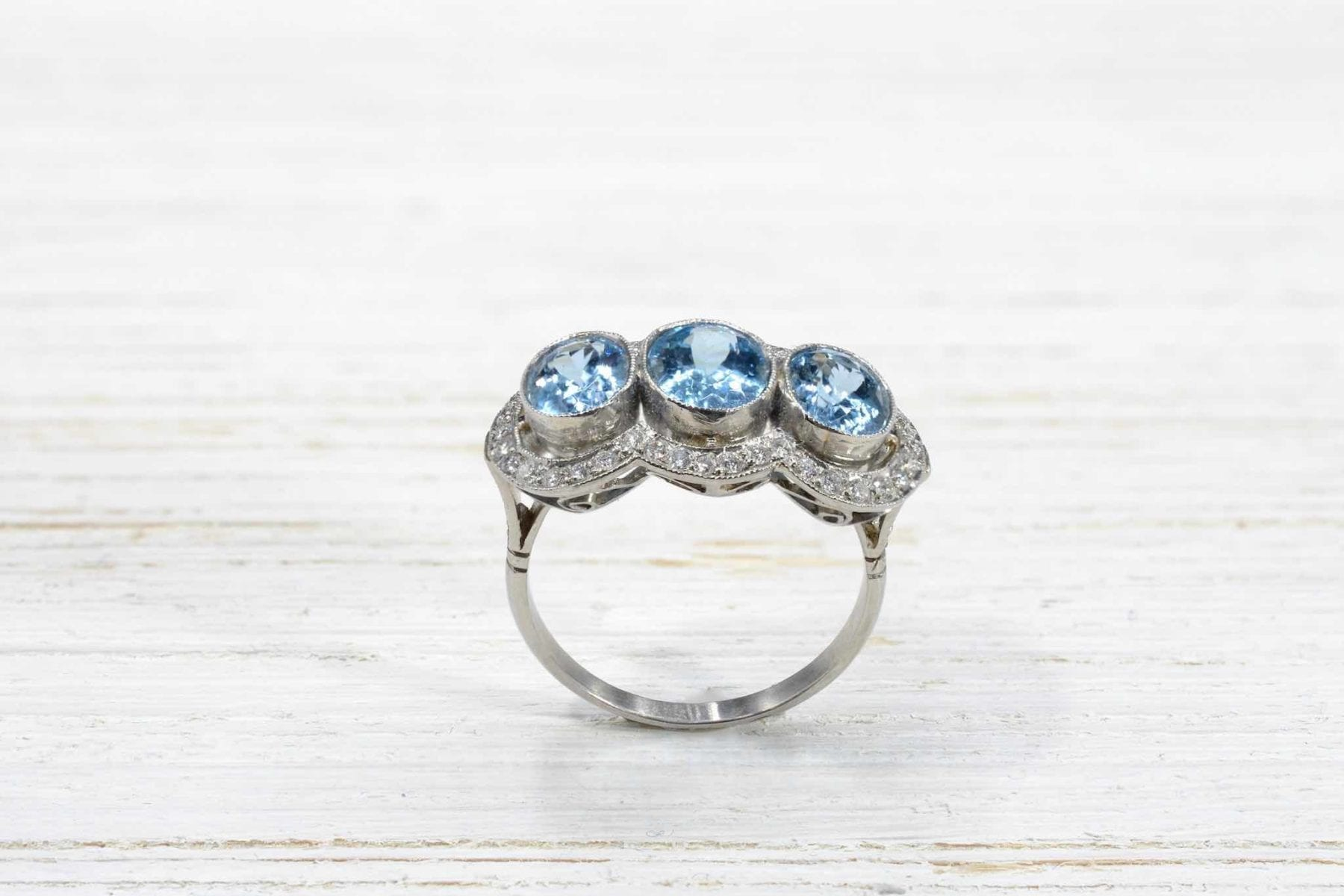 aquamarines and diamonds ring