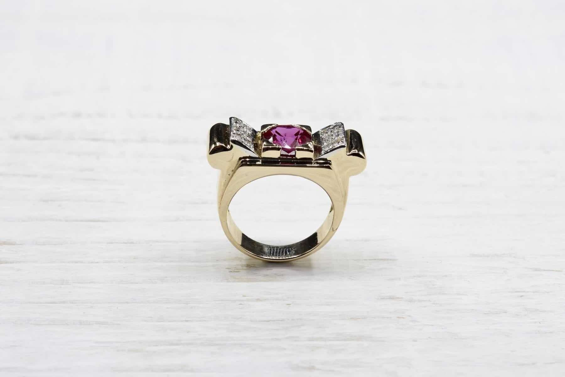bague tank rubis or jauen 18k