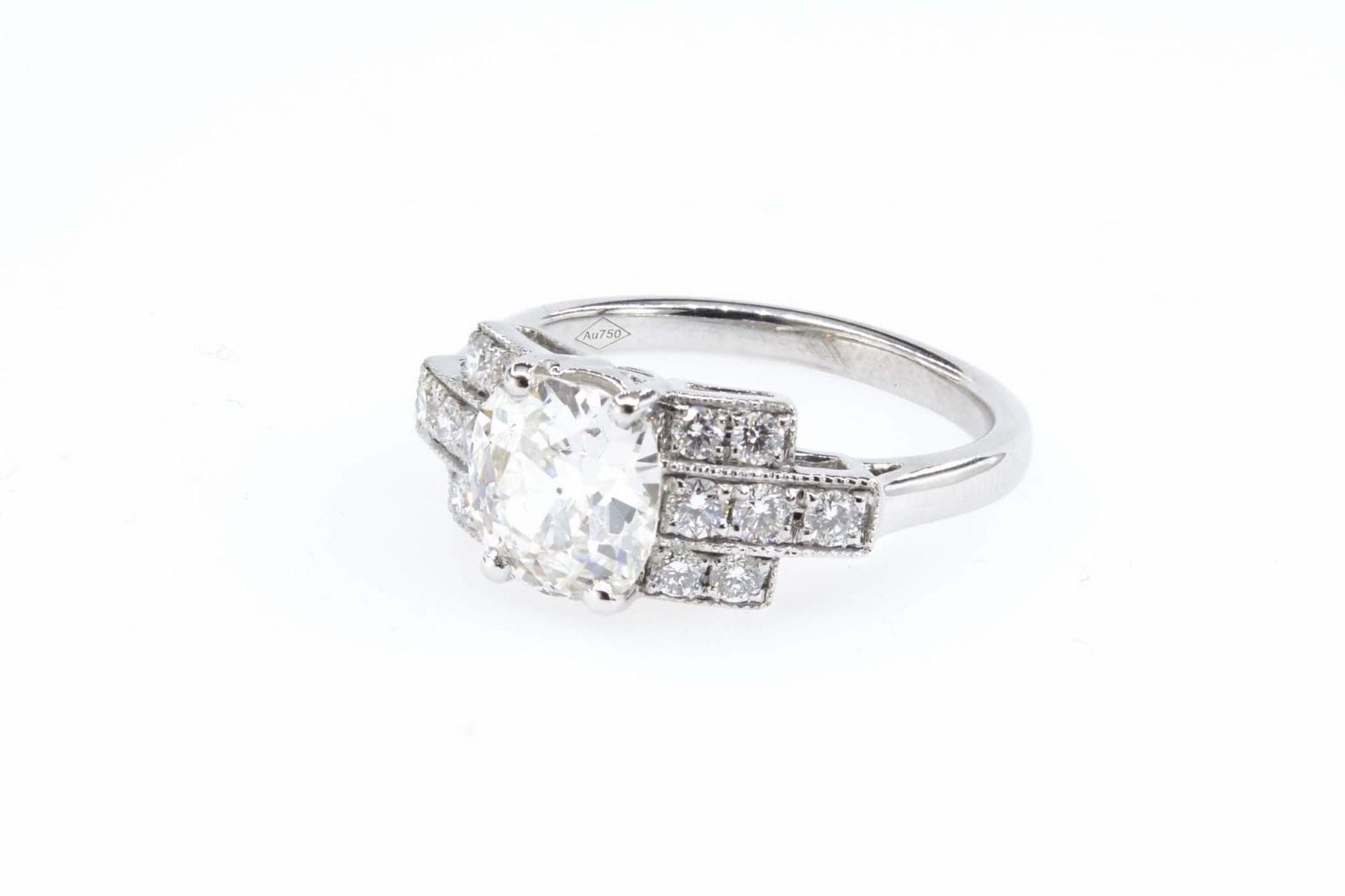 Bague diamant de 1,27 carats en or blanc 18k