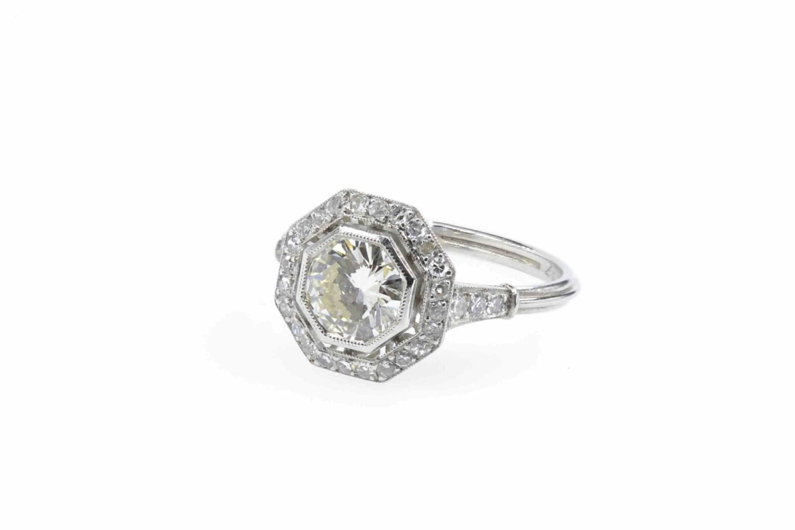 Bague octogonale diamants en platine