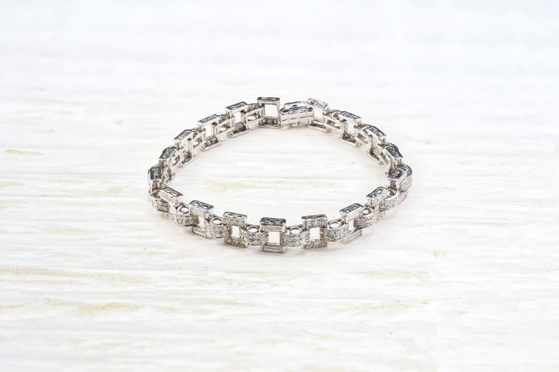 Bracelet diamants platine