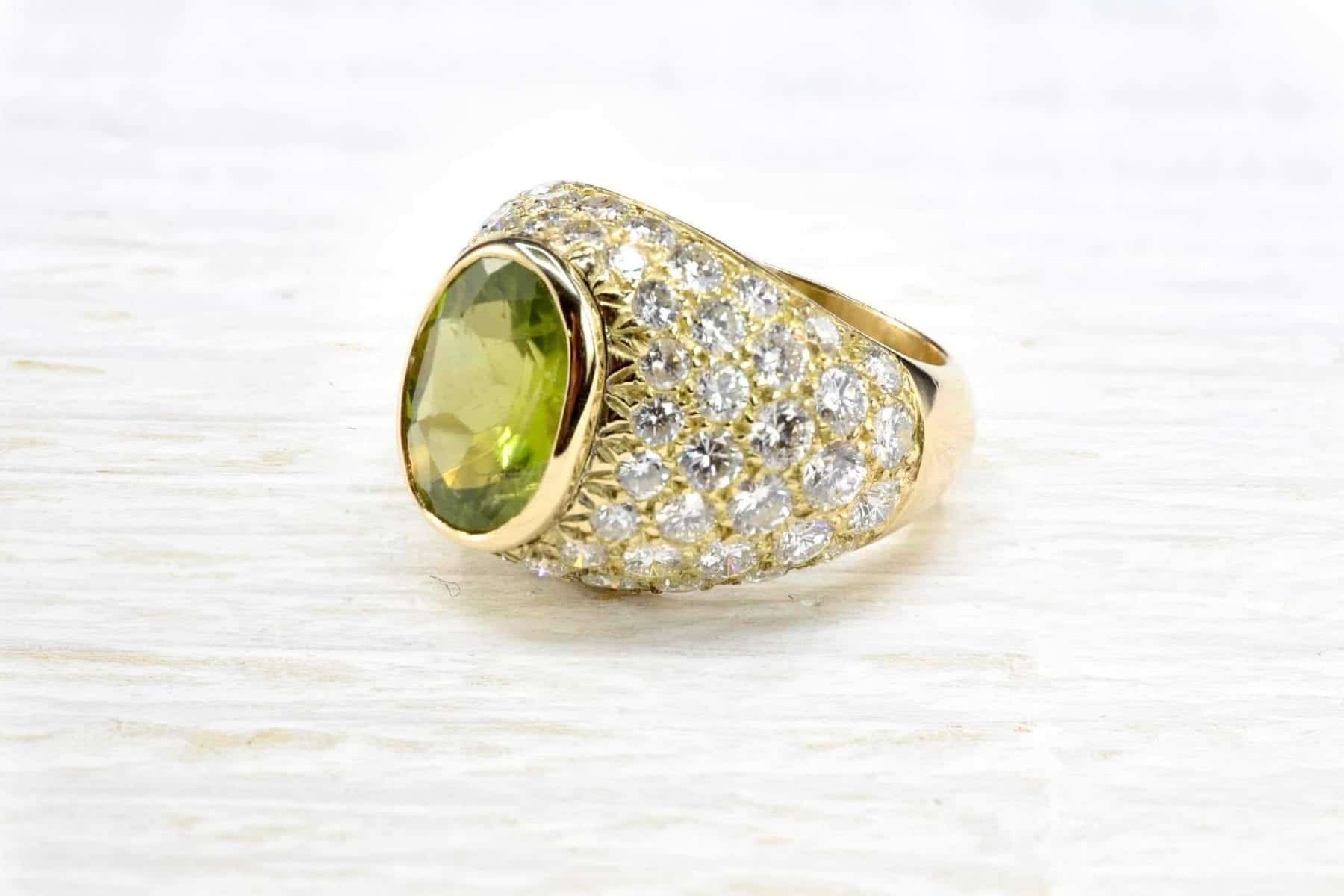 Bague Dôme Peridot diamants