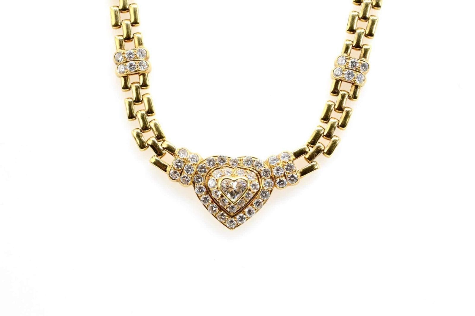 Collier coeur diamants