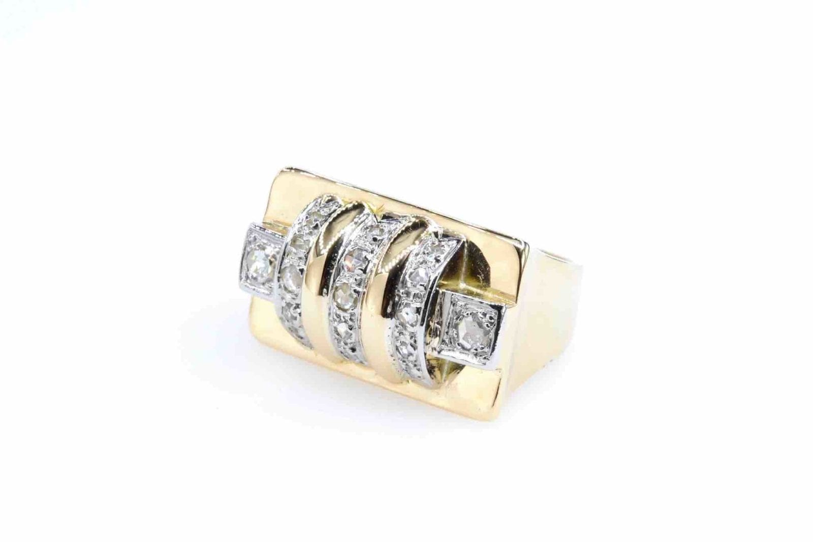 Bague Tank diamants en or jaune 18k