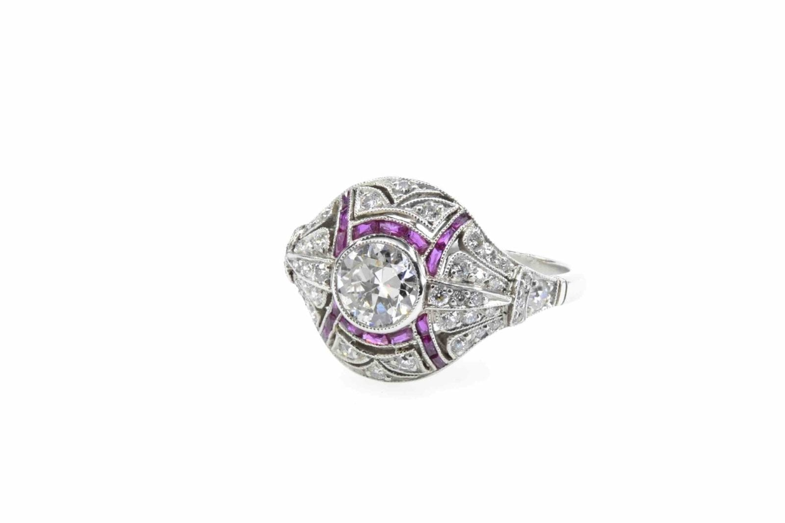 Bague vintage platine et diamants