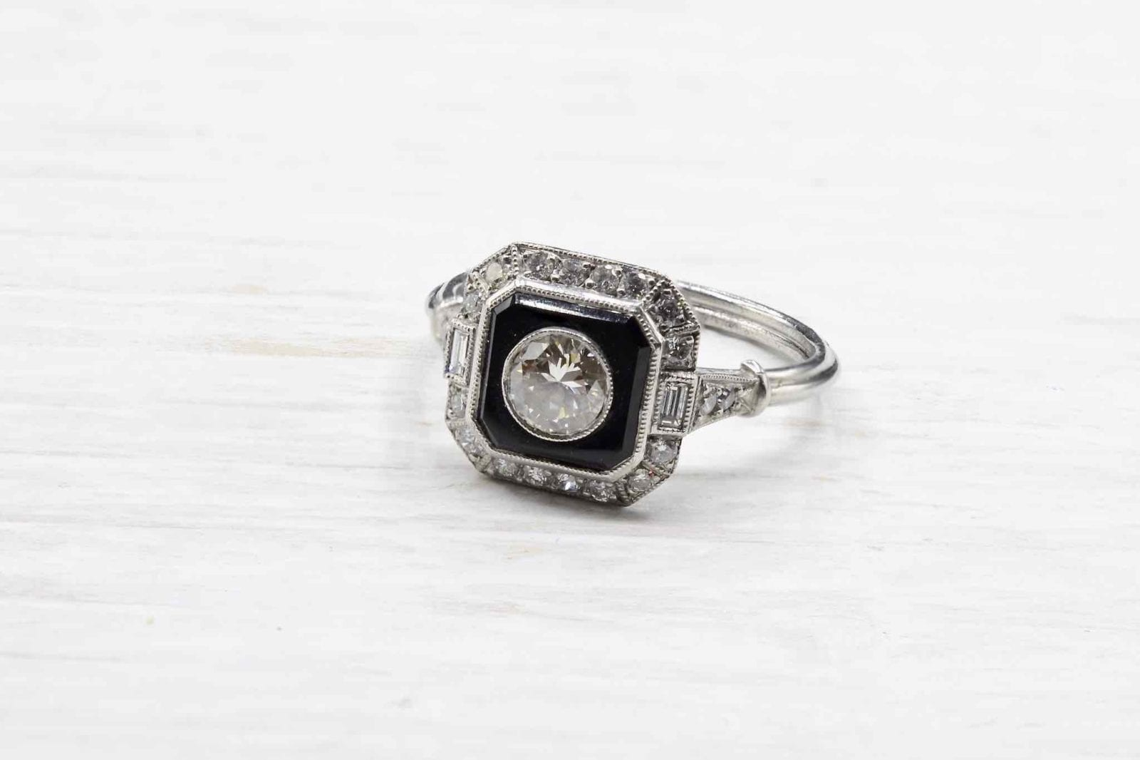 Bague diamants et onyx