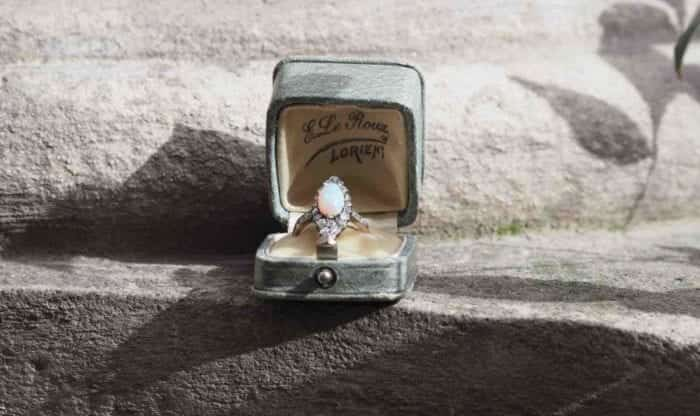 bague opale diamants 19e