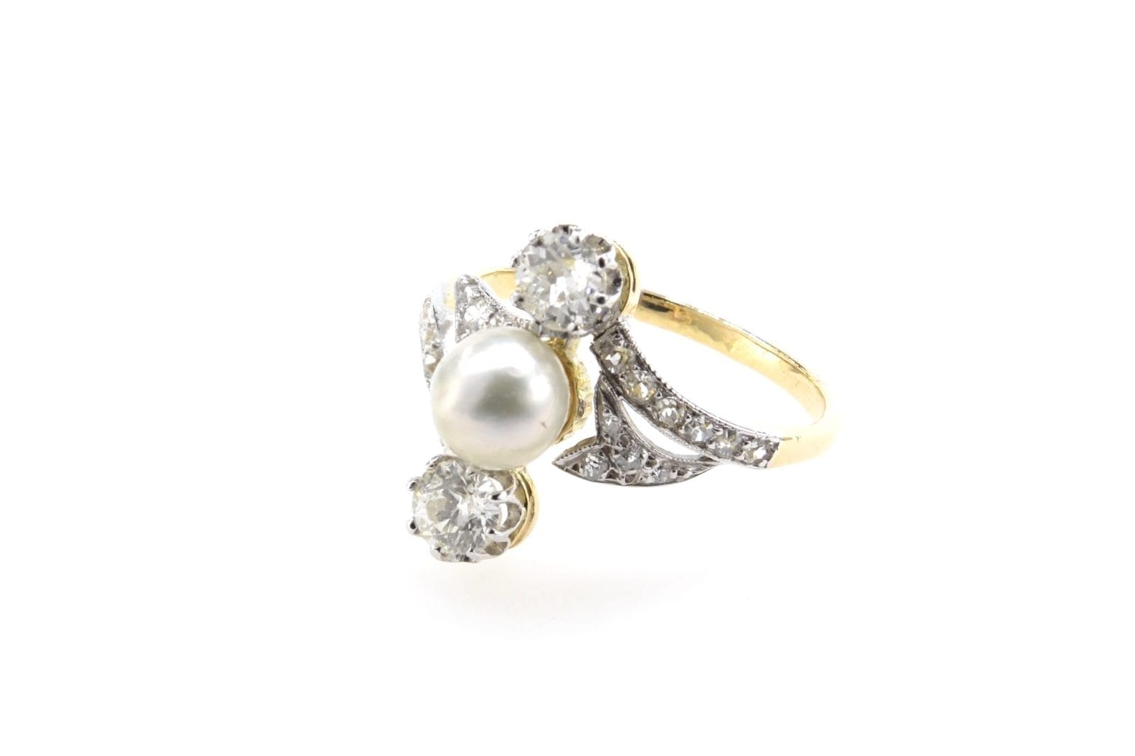 Bague perle diamants 1900 en or jaune 18k